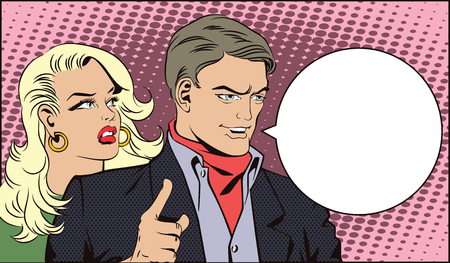 attract: People in retro style pop art and vintage advertising. Man with a girl wants to attract attention.