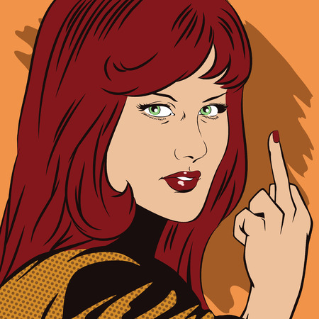 rude: Stock illustration. People in retro style pop art and vintage advertising. Girl shows rude gesture. Illustration
