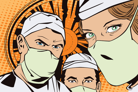 People in retro style pop art and vintage advertising. The doctors in the operating room Çizim