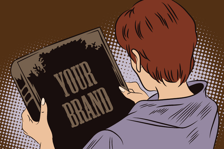 looks: Stock illustration. People in retro style pop art and vintage advertising. Girl looks at the book cover. In the book, you can write your brand