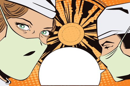 operating room: People in retro style pop art and vintage advertising. The doctors in the operating room Illustration