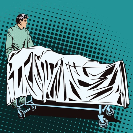 hospital trolley: People in retro style pop art and vintage advertising. Male medic with a hospital trolley.