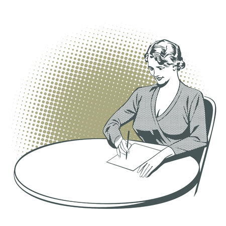 promotion girl: Stock illustration. People in retro style pop art and vintage advertising. Girl writes, sitting at the table.