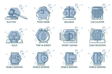 secure growth: Set Icons in style flat line. Theme - Finance. Illustration