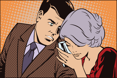 conducting: People in retro style pop art and vintage advertising. Man and woman conducting a secret conversation. Illustration