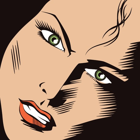promotion girl: Stock illustration. People in retro style pop art and vintage advertising. Girls face. Illustration