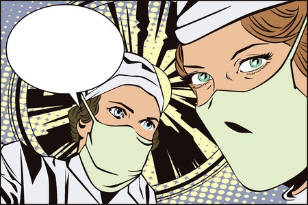 operating room: Stock illustration. People in retro style pop art and vintage advertising. The doctors in the operating room. Illustration