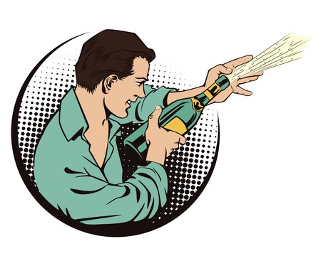 champagne pop: Stock illustration. People in retro style pop art and vintage advertising. Man with champagne.
