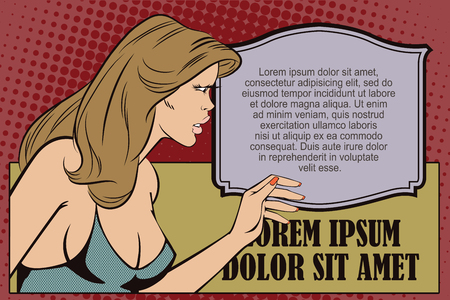 interested: Stock illustration. People in retro style pop art and vintage advertising. An interested girl.