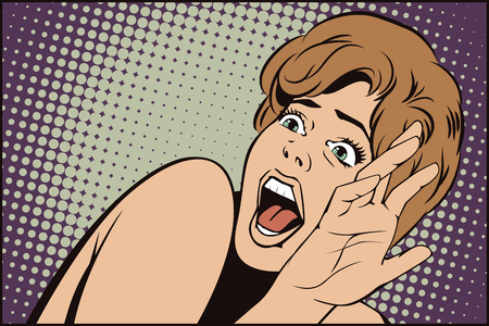 Stock illustration. People in retro style pop art and vintage advertising. Girl screaming in horror. Vettoriali