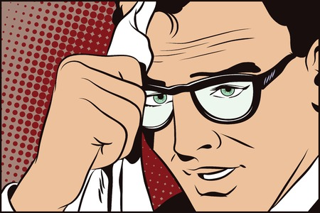 handkerchief: Stock illustration. People in retro style pop art and vintage advertising. A man with glasses wipes the face with a handkerchief. Illustration