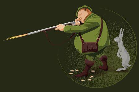 ambush: People in retro style pop art and vintage advertising. The hunter in an ambush. Advertising shooting club.