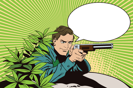 gunner: People in retro style pop art and vintage advertising. The hunter in an ambush. Advertising shooting club.