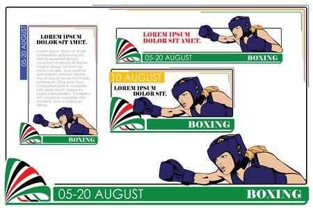 kinds: Summer kinds of sports. Boxing. Illustration