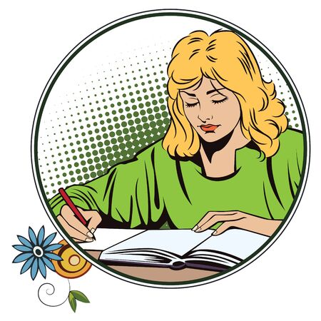 dozing: People in retro style pop art and vintage advertising. Girl with the book. Schoolgirl in the classroom. Student in a lecture.
