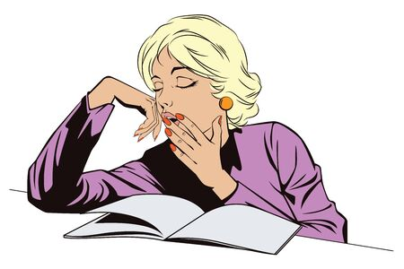 sleepy woman: Stock illustration. People in retro style pop art and vintage advertising. Sleepy Teenage Girl Letting Out a Big Yawn