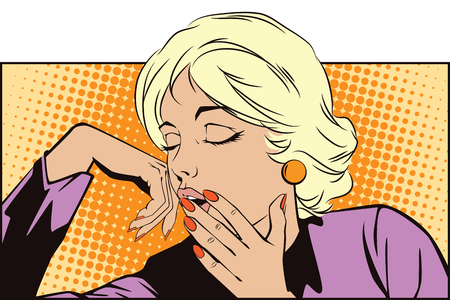 yawn: Stock illustration. People in retro style pop art and vintage advertising. Sleepy Teenage Girl Letting Out a Big Yawn