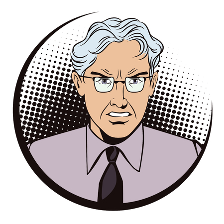 modern fighter: Stock illustration. People in retro style pop art and vintage advertising. Angry gray-haired man. The boss is furious. Illustration
