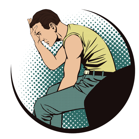 despondency: Stock illustration. People in retro style pop art and vintage advertising. Upset man clutching his head.