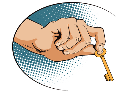 house key: Stock illustration. Style of pop art and old comics. Male hand with keys.