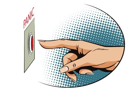 panic button: Stock illustration. Style of pop art and old comics. Female finger presses the panic button.
