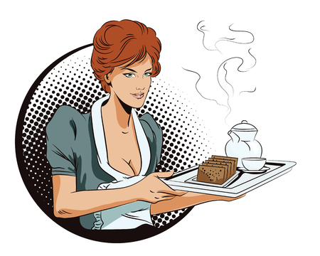 People in retro style pop art and vintage advertising. Service at the hotel. The waitress with a tray delivers breakfast. Illustration