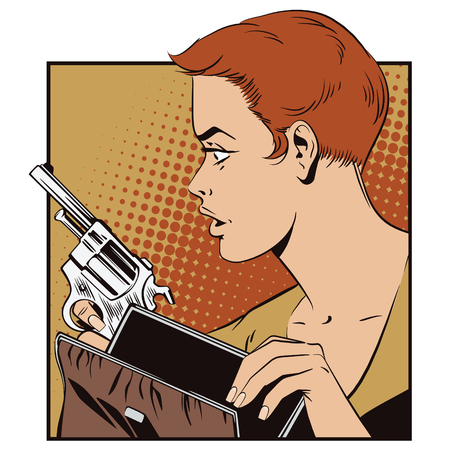 girl gun: People in retro style pop art and vintage advertising. Girl with a gun.