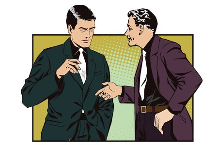 persuade: Stock illustration. People in retro style pop art and vintage advertising. Talking man.
