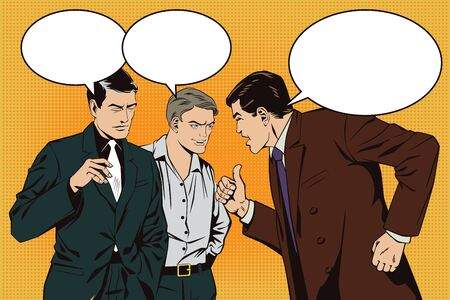 persuade: Stock illustration. People in retro style pop art and vintage advertising. Boss berates subordinates. Illustration