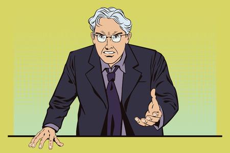 jefe enojado: La ilustración. La gente en estilo retro pop art y la publicidad de la vendimia. hombre de cabello gris enojado. El jefe está furioso.