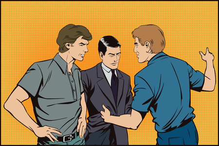 male friends: Stock illustration. People in retro style pop art and vintage advertising. Talking man.