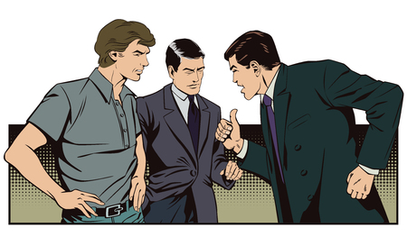 male friends: Stock illustration. People in retro style pop art and vintage advertising. Boss berates subordinates. Illustration