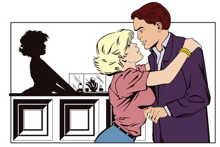 jewelry store: Stock illustration. People in retro style pop art and vintage advertising. Couple at jewelry store. Girl thanks the guy.