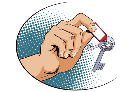 homeowner: Stock illustration. Style of pop art and old comics. Male hand with keys.