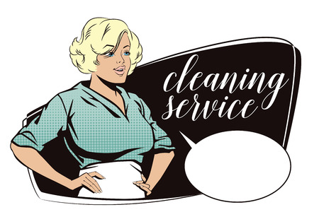 dirty house: Stock illustration. People in retro style pop art and vintage advertising. Girl from cleaning service.