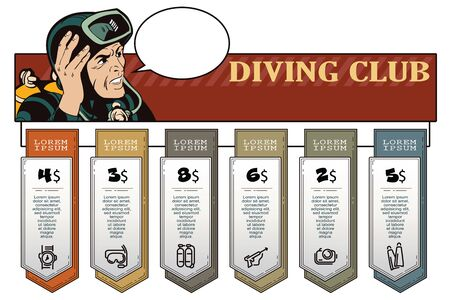 diver: Stock illustration. People in retro style pop art and vintage advertising. Diver. Infographic and Diagram for your brand.