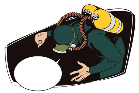 vignette: Stock illustration. People in retro style pop art and vintage advertising. Diver.