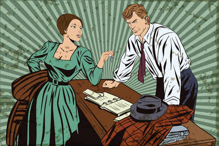 sleuth: Stock illustration. People in retro style pop art and vintage advertising. Private detective and girl. Grunge version. Illustration