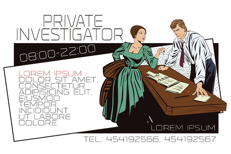 private detective: Stock illustration. People in retro style pop art and vintage advertising. Private detective and girl. Template ads or business card. Illustration