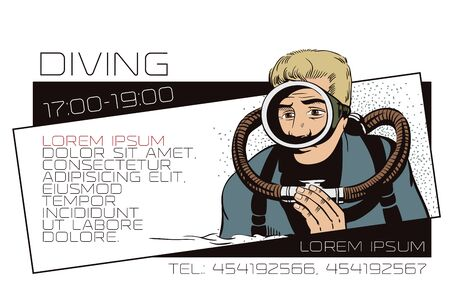character cartoon: Stock illustration. People in retro style pop art and vintage advertising. Diver. Template ads or business card.