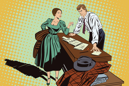 character cartoon: Stock illustration. People in retro style pop art and vintage advertising. Private detective and girl.