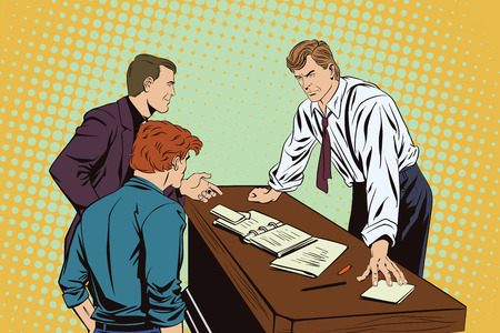snob: Stock illustration. People in retro style pop art and vintage advertising. Businessman. Boss and subordinates.