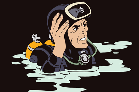 diver: Stock illustration. People in retro style pop art and vintage advertising. Diver.