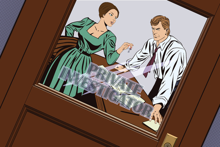 sleuth: Stock illustration. People in retro style pop art and vintage advertising. Private detective and girl.