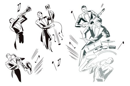 Stock illustration. Abstract jazz musicians