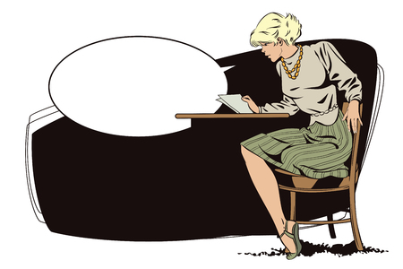 Stock illustration. People in retro style pop art and vintage advertising. Girl reads letter. Illustration