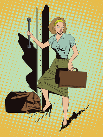 Stock illustration. People in retro style pop art and vintage advertising. Girl in the train. Start travel. Bon Voyage.