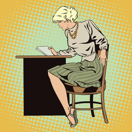 reads: Stock illustration. People in retro style pop art and vintage advertising. Girl reads letter. Illustration