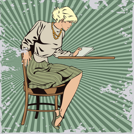 Stock illustration. People in retro style pop art and vintage advertising. Girl reads letter. Grunge version.