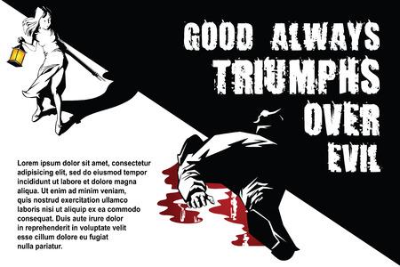 hitman: Vector BW Illustration. Template flyers. Little girl kills evil. Illustration